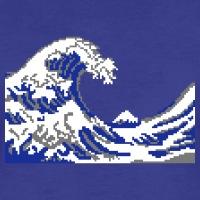 Accessoires und T-Shirts Hokusai Pixel Art Welle gestalten