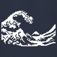 T-shirts Hokusai Welle Pixels weiss personnalisés