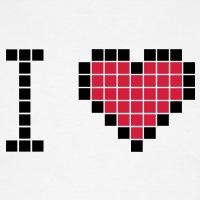 Accessoires und T-Shirts I love geek Pixel Herz gestalten