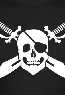 Accessoires und T-Shirts Pirat mit Augenbinde und Säbeln gestalten