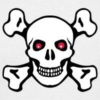 Accessoires und T-Shirts Rote Augen Totenkopf gestalten