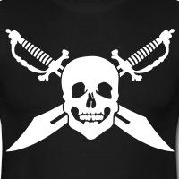Accessoires und T-Shirts Piraten Totenkopf und Schwerten gestalten