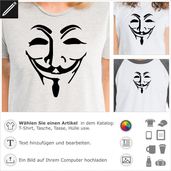 Durchsichtige Anonymous Maske, personalisierbares Guy Fawkes Design für Geeks.