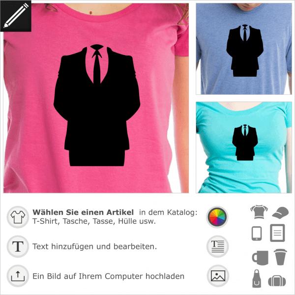 Anonymous Anzug durchsichtiges Design für T-Shirt Druck.