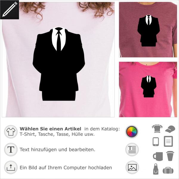 Anonymous Anzug, personalisierbares Design für T-Shirt Druck. Gestalte ein T-Shirt oder ein Accessoire Anonymous.