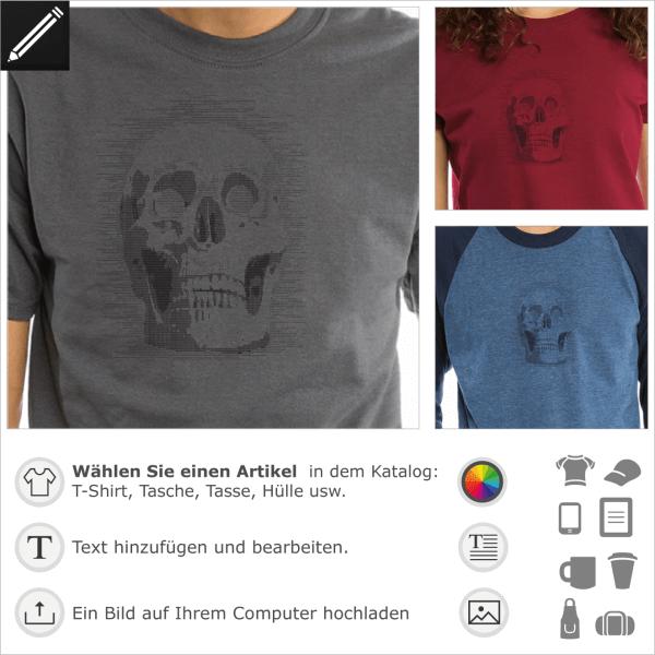 Ascii Totenkopf, gestaltbares Geek und Hacker Design.