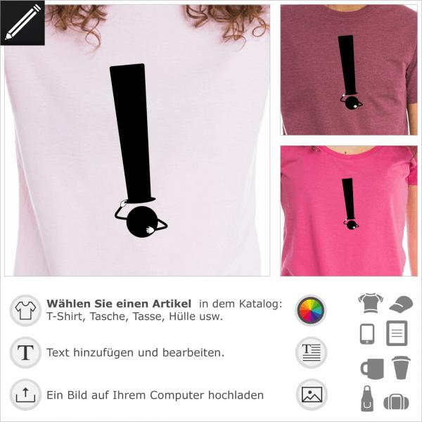 Ausrufungszeichen mit Hut, lustiges Design für t-Shirt Druck.
