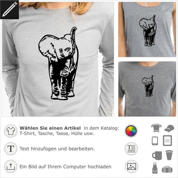 Elefantenjunge personalisierbares Design für T-Shirt Druck. Gestalte ein T-Shirt Elefant.