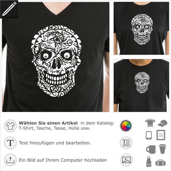 Blühender Totenkopf. Monster Design für T-Shirt Druck.