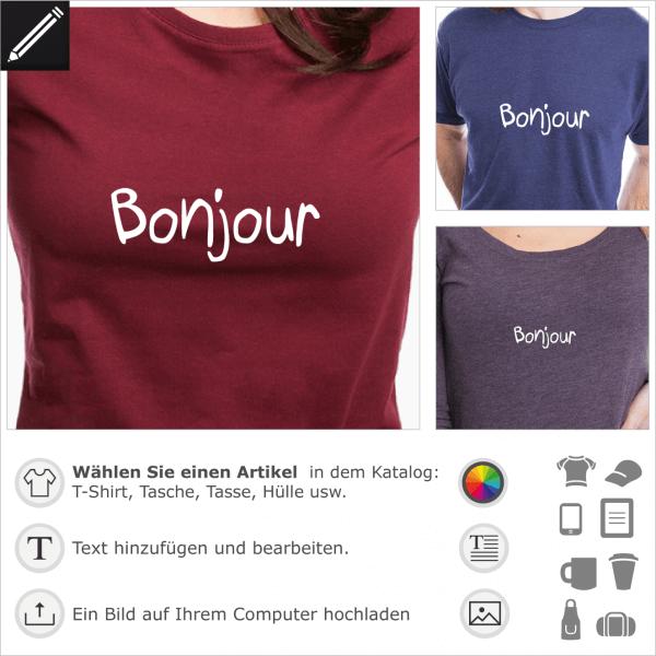 Bonjour handschriftliches Design für T-Shirt Druck. Französiches Zitat.