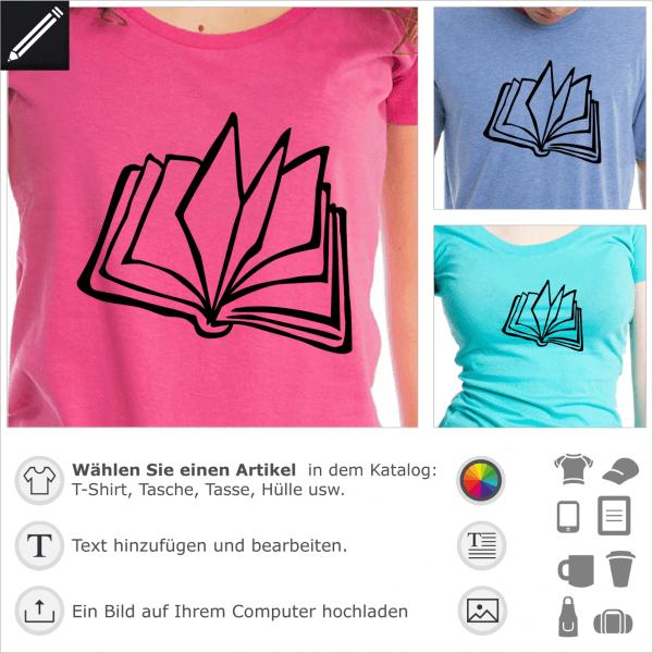 Buch personalisierbare Zeichnung für T-Shirt Druck. Gestalte ein Literatur T-Shirt.