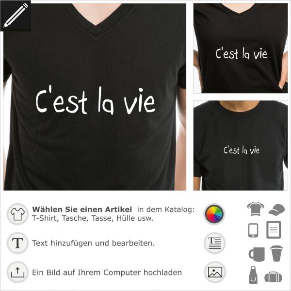 C'est la vie französiches Zitat, Fatalismus Design für T-Shirt Druck.