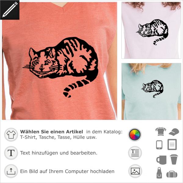 Cheshire cat WonderlandDesign, die Katze von Alice im Wunderland originale Abbildung transponiert im Vektor Design für T-Shirt Druck. Gestalte ein T-S