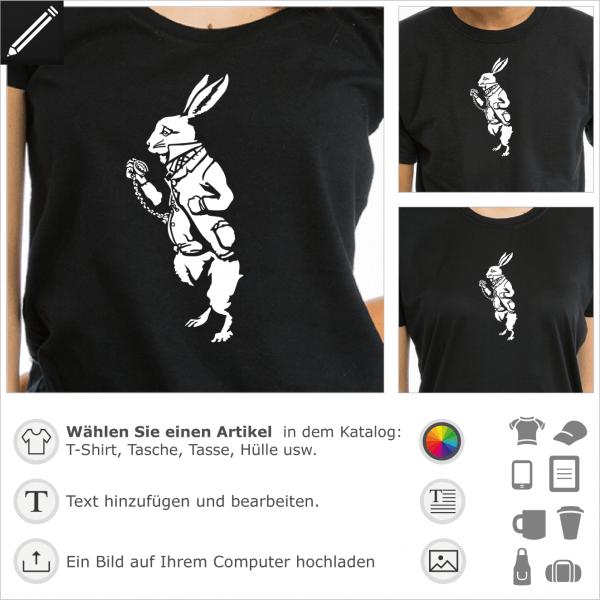 Weisse Kaninchen aus Alice umgekehrt Design für T-Shirt Druck. Gestalte ein T-Shirt Literatur.