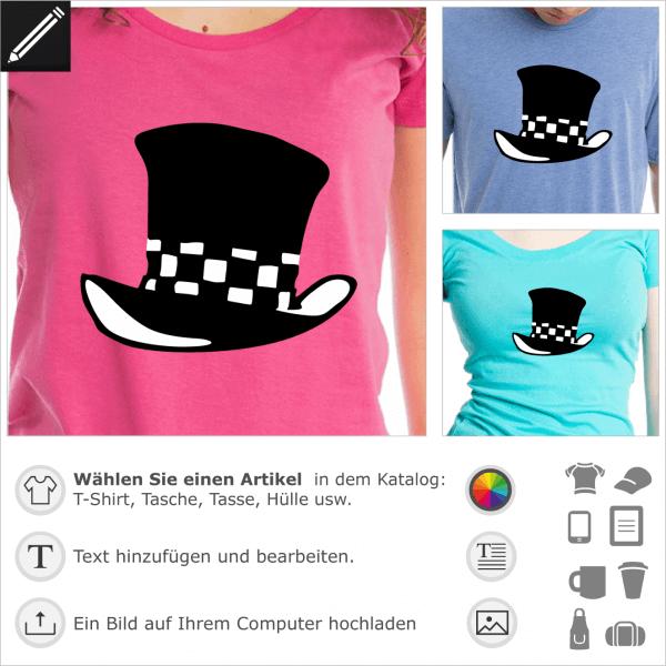 Hutmacher Zylinder Hut Design mit Schachbrettmuster. Gestalte ein T-Shirt mit diesem Motiv.