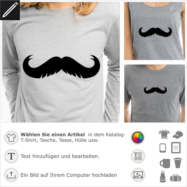 Schnurrbart mit Kerben personalisierbares Design. Gestalte selbst ein T-Shirt Schnurrbart.