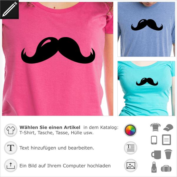 Dicker Schnurrbart Design für T-Shirt Druck. Personalisiere einen Artikel mit diesem Schnurrbart.