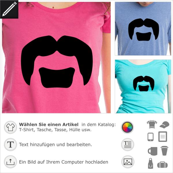 Lemmy Kilmister Schnurrbart, personalisierbares Schnurrbart Design für T-Shirts und Accessoires Druck.
