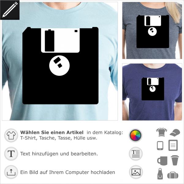 Vintage 3.5 Zoll Diskette Logo, 2 Farben Design für T-Shirt Druck. Gestalte ein T-Shirt Retrogaming mit diesem Motiv.