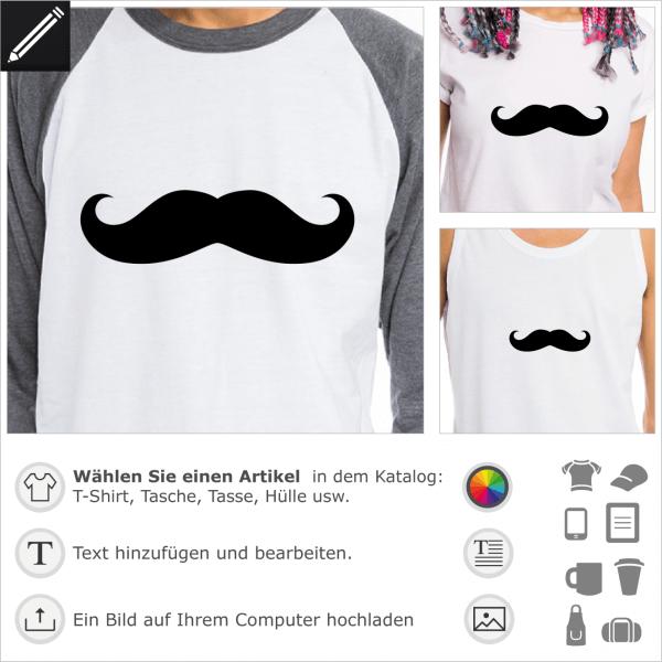 Einfacher Klassischer Schnurrbart für T-Shirt Druck. Gestalte einen Artikel mit diesem Design.