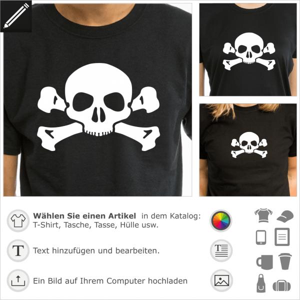 Piraten feiner Totenkopf mit Knochen. Gestalte ein T-Shirt Pirat mit diesem kleinen Schädel und kreuzweiser Knochen.