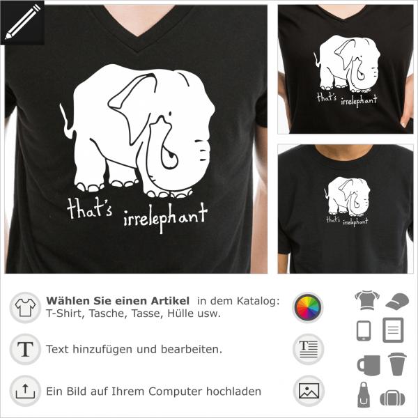 Irrelephant voll Design für T-Shirt Druck. That's Irrelephant Witze mit einem Elefant.