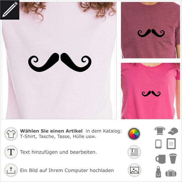 Französischer Schnurrbart anpassbares Design für T-Shirt Druck. Lockiger lustiger Schnurrbart.