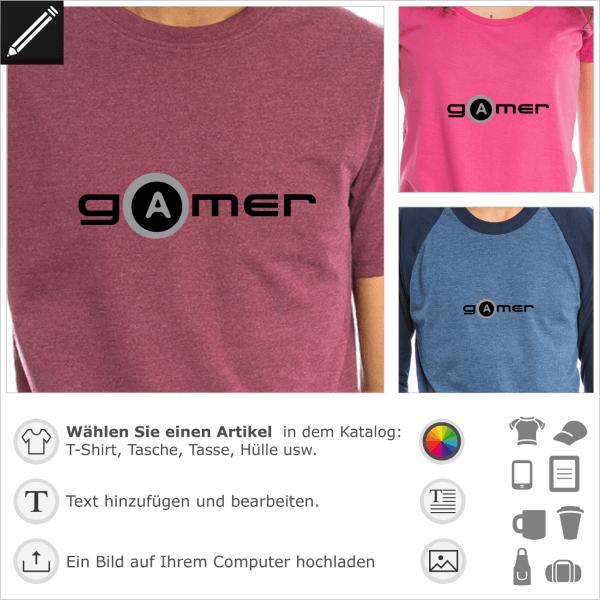 Gamer A Taste. Design für Gamers und Geeks mit dem A Buschstabe Taste förmig.