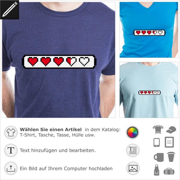 Lifebar mit Herzen, anpassbares Retrogaming Design für T-Shirt Druck. Undirchsichtiger Strich mit Herzen.