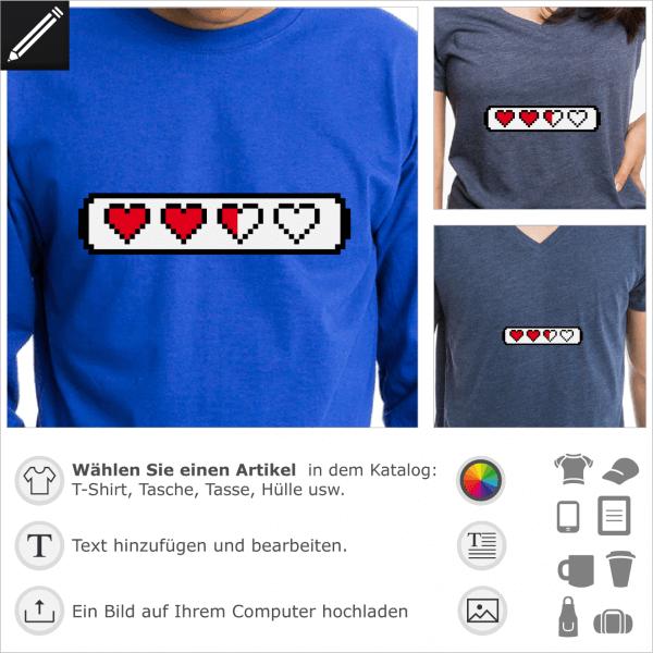 Pixels Lifebar mit Herzen, anpassbares Retrospiel Design für T-Shirt Druck.