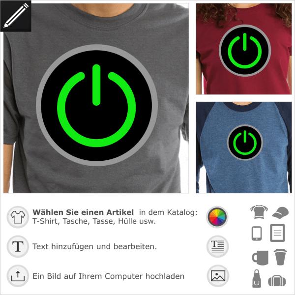 Personalisierbare Start Taste Design für T-Shirt Druck. Gestalte einen Artikel mit diesem Motiv für Geeks und Gamers.