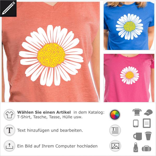 Gänseblümchen personalisierte Design für T-Shirt Druck. Gestalte dein Blumen T-Shirt online.