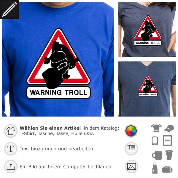 Warning Troll Verkehrsschild, Humour und Geek Straßenschild
