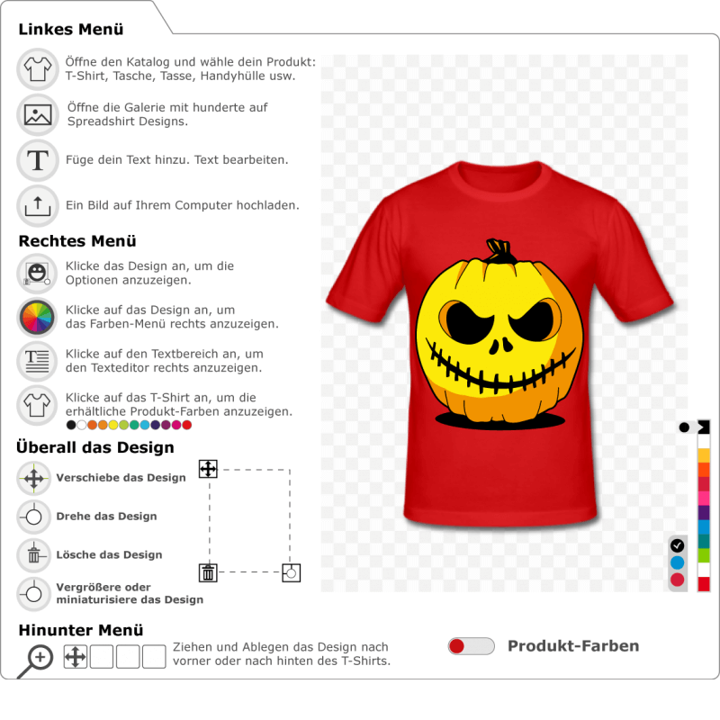 Gestalte den Kürbis und erstelle dein eigenes originelles Halloween-T-Shirt. Kürbis 3 Farben, die online gedruckt werden können.