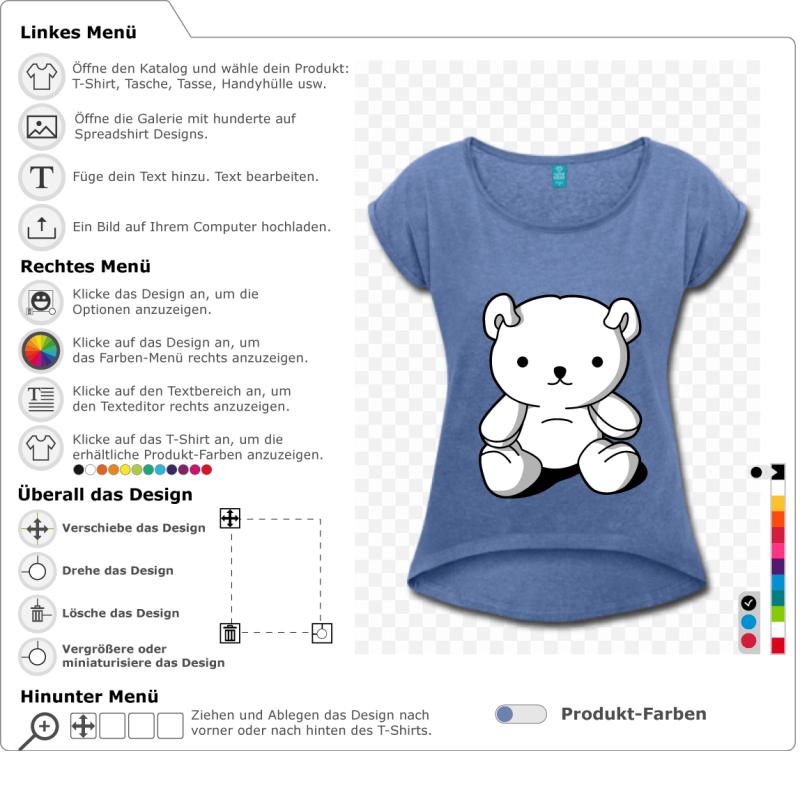 Kawaii Teddybär sitzt, um ihn individuell zu gestalten und online zu drucken. Design kawaii drei opake Farben.
