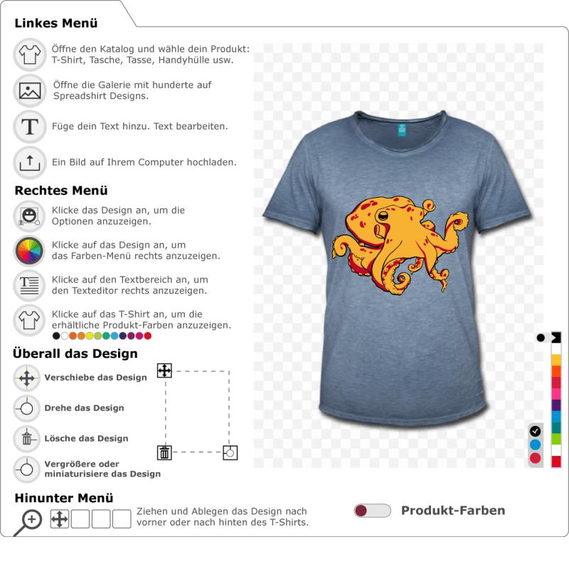 Oktopus, um sich selbst zu personalisieren und auf T-Shirt zu drucken. Oktopus mit beweglichen Tentakeln.