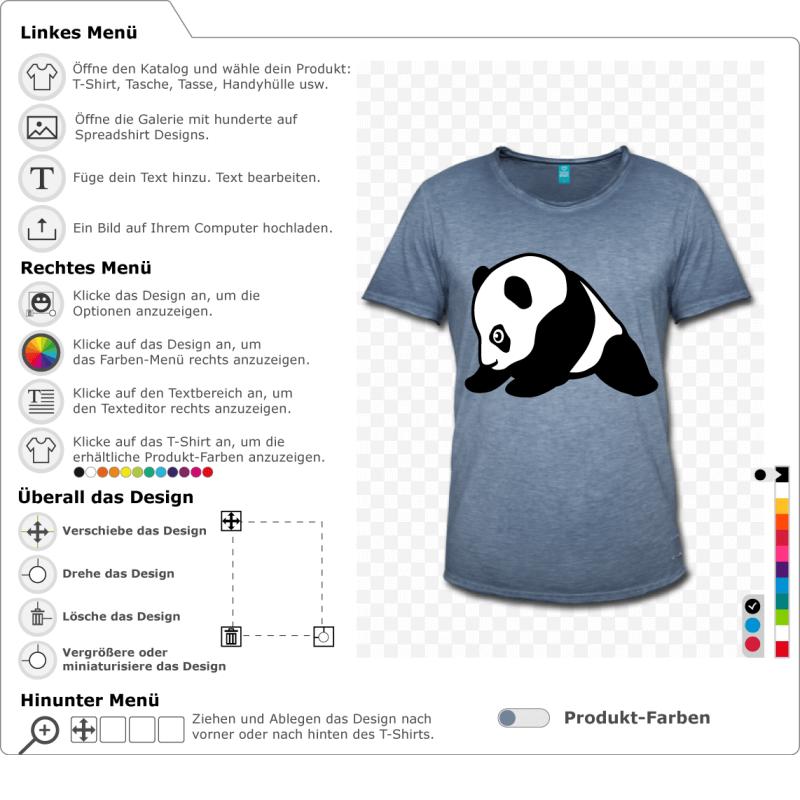 Süßer stilisierter Baby-Panda, im Profil gezeichnet. Der Panda sitzt. Schwarz-Weiß-Design zur individuellen Gestaltung im Internet, speziell zum Bedru