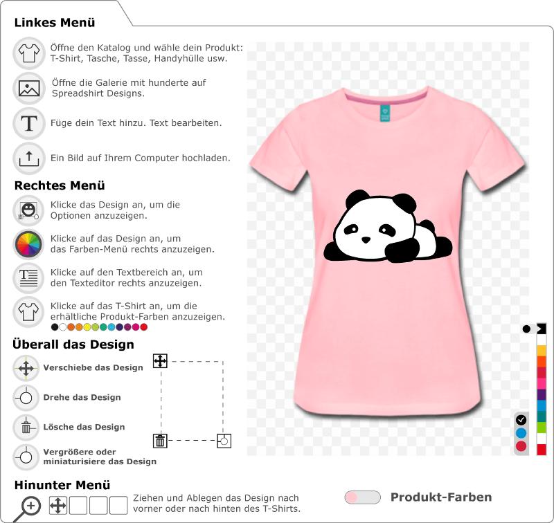 Panda kawaii zum Personalisieren und Bedrucken von T-Shirts, Taschen, Accessoires etc. Gestalte ein Panda T-Shirt.
