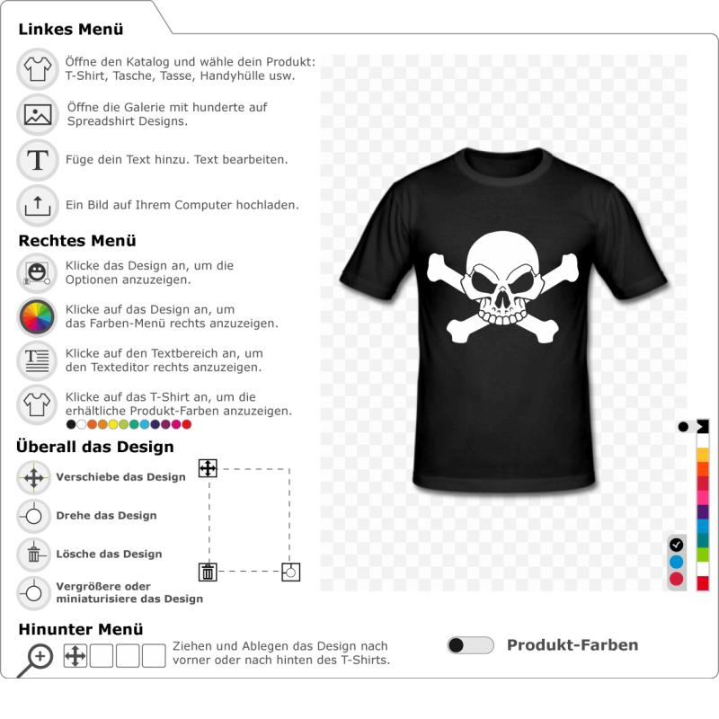 Piraten-T-Shirt, um sich persönlich zu gestalten. Füge Text hinzu, wähle das T-Shirt-Design. Weißer Totenkopf und Kreuzknochen.