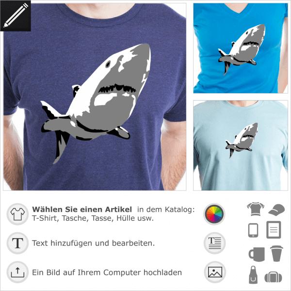 Hai personalisierbares Design 3 Farben. Gestalte ein T-Shirt Hai und Ozean mot diesem stilisierte weiße Hai Design für T-Shirt Druck.