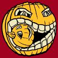 Halloween Kürbis knirscht einen kleinen geschnitzten Kürbis. Individuell anpassbares 3-farbiges Halloween-Design.