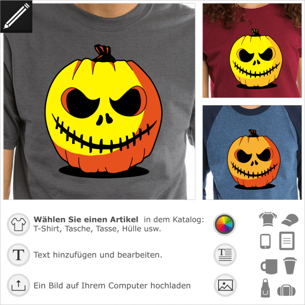 Original Halloween Kürbis T-Shirt. Gestalte ein individuelles T-Shirt mit diesem geschnitzten Kürbis. Kürbislaterne.