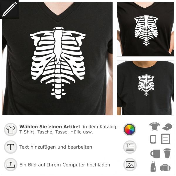 Phosphoreszierend Skelett, personalisierbares Skeletts für T-Shirt Druck. Gestalte ein T-Shirt Halloween mit diesem Brustkorb.