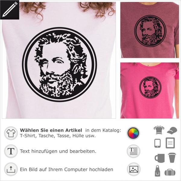 Herman Melville Medaillon förmig Porträt für T-Shirt Druck.