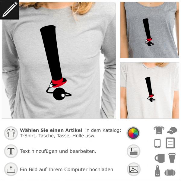 Ausrufezeichen Hut, das seinen Zylinder hoch hebt. Lustiges anpassbares Design für T-Shirt Druck.