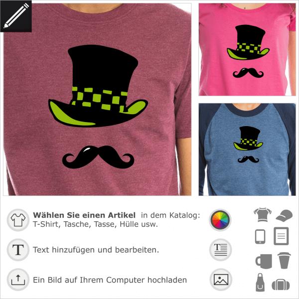 Hutmacher Hut und Schnurrbart. 3 Farben Personalisierbares Design für T-Shirt Druck.