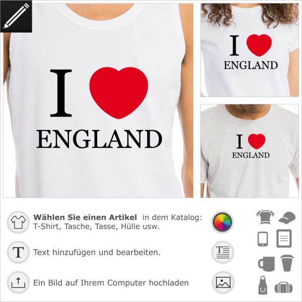 I love England Design mit einem rundliches Herz. 2 Farben personalisierbares Motif für T-Shirt Druck.