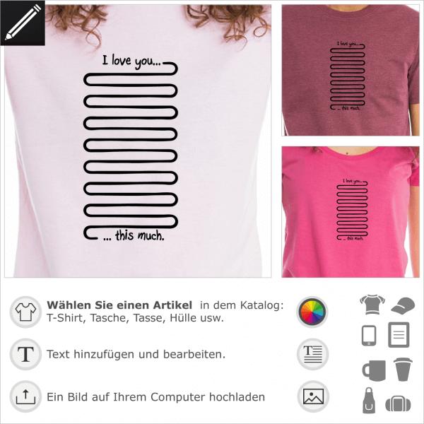 I love you this much Witz, personalisierbares Design für T-Shirt Druck.