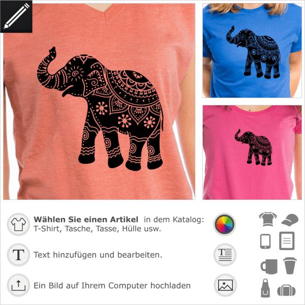 Indischer geschmückt Elefant, Blumenmuster