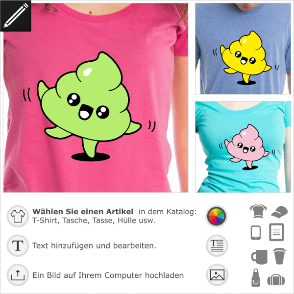 Kak T-Shirt. Tanzende Kot- Emoji, kawaii Kacke, die auf den Spitzen tanzt. Gestalte ein Kak-T-Shirt.